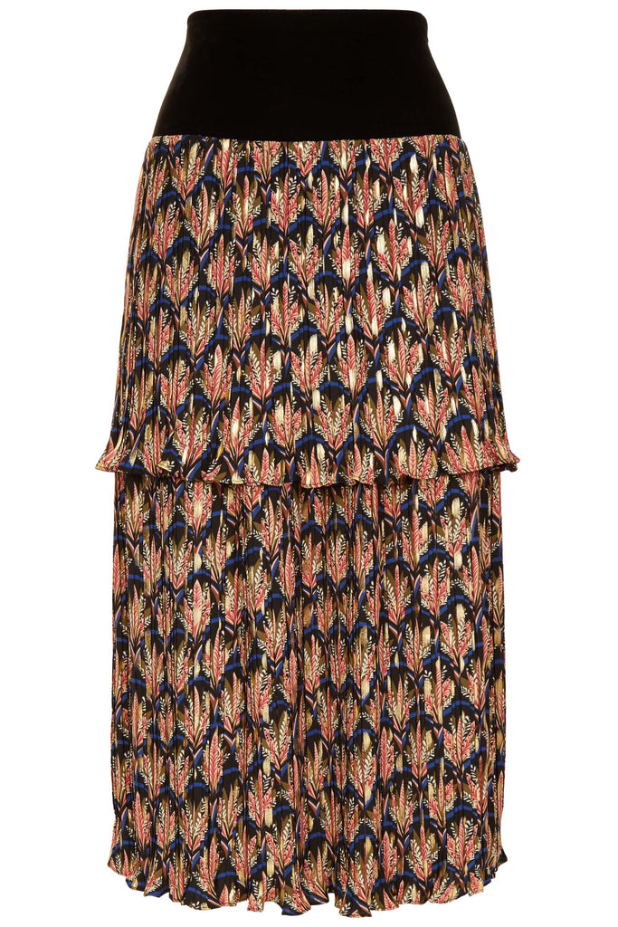 Traffic People Floral Pleated Midi Skirt in Black FlatShot Image
