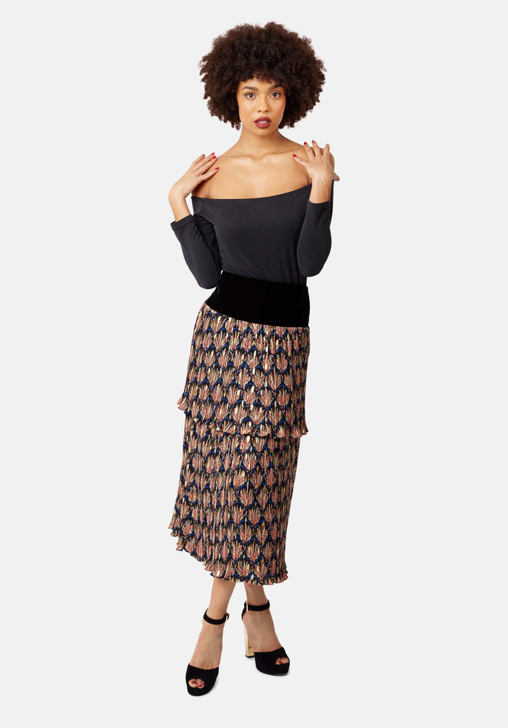 Traffic People Floral Pleated Midi Skirt in Black Close Up Image