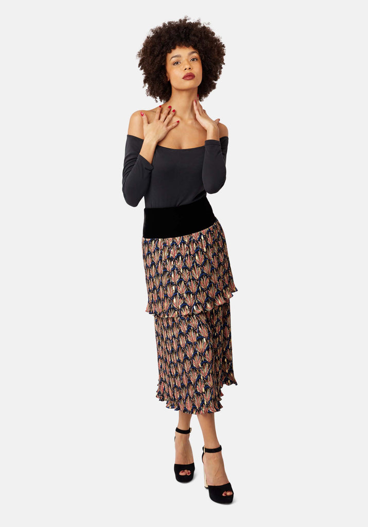 Floral Pleated Midi Skirt in Black