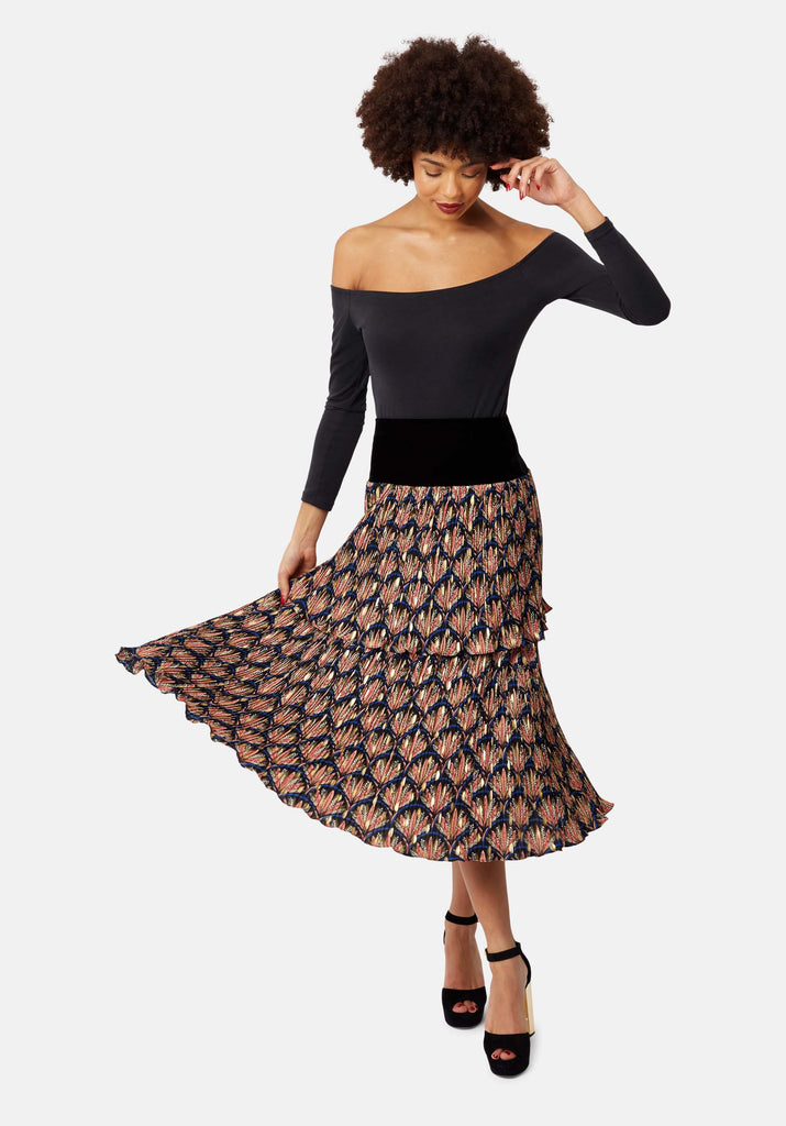Traffic People Floral Pleated Midi Skirt in Black Front View Image