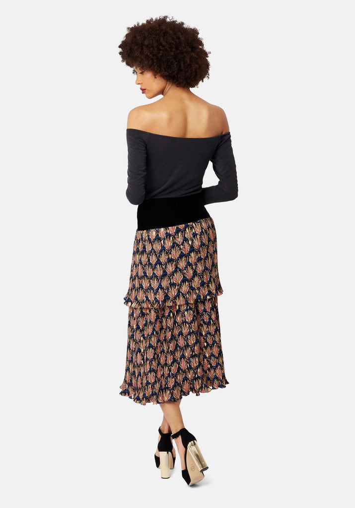 Traffic People Floral Pleated Midi Skirt in Black Side View Image