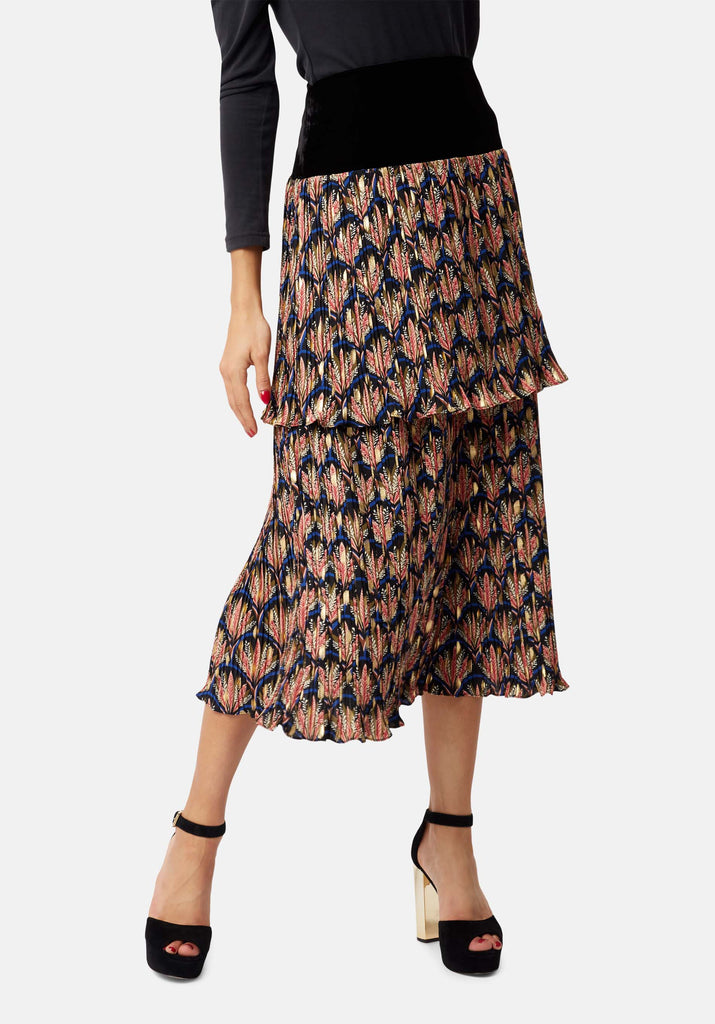 Traffic People Floral Pleated Midi Skirt in Black Back View Image