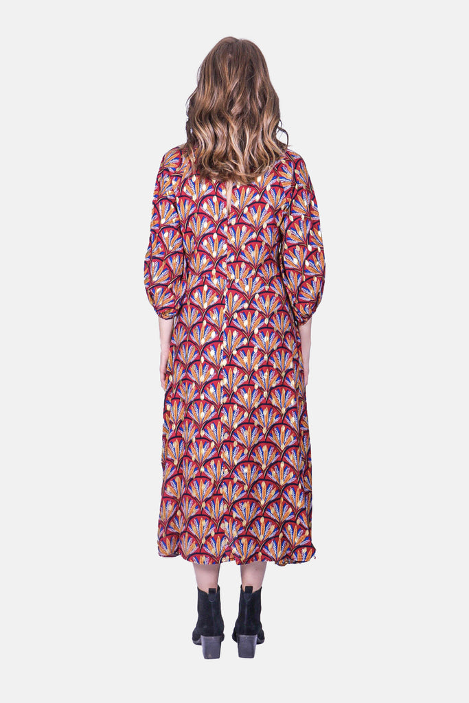 Traffic People Printed Midi Drape Dress in Wine Side View Image