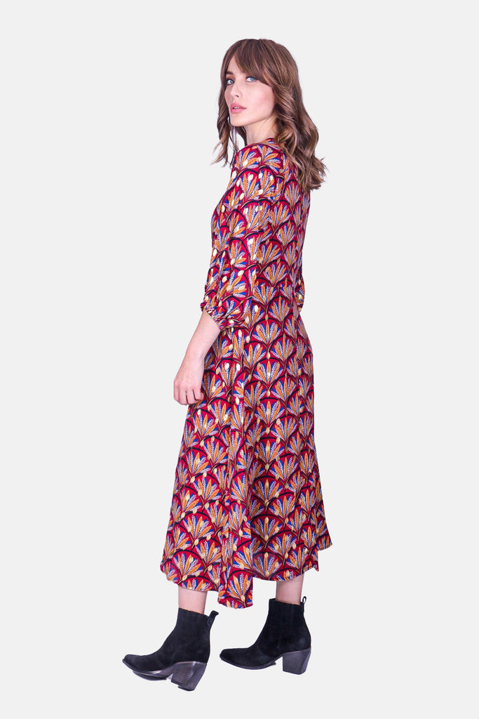 Traffic People Printed Midi Drape Dress in Wine Back View Image