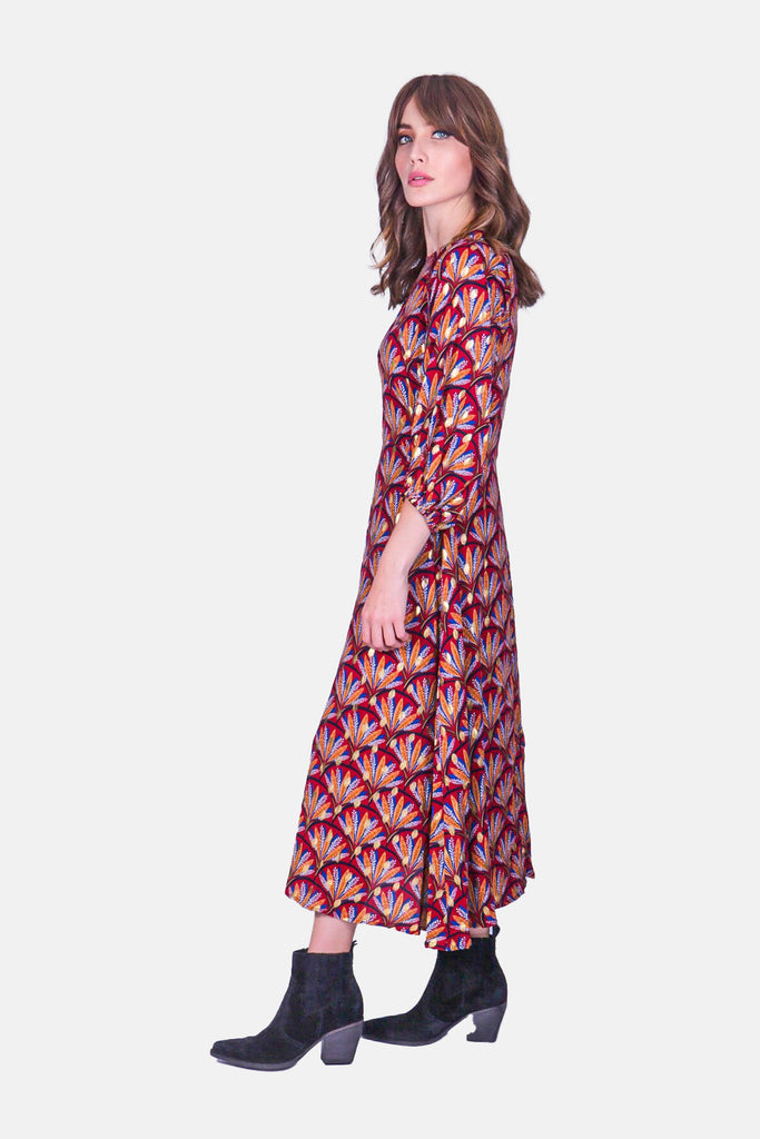 Printed Midi Drape Dress in Wine