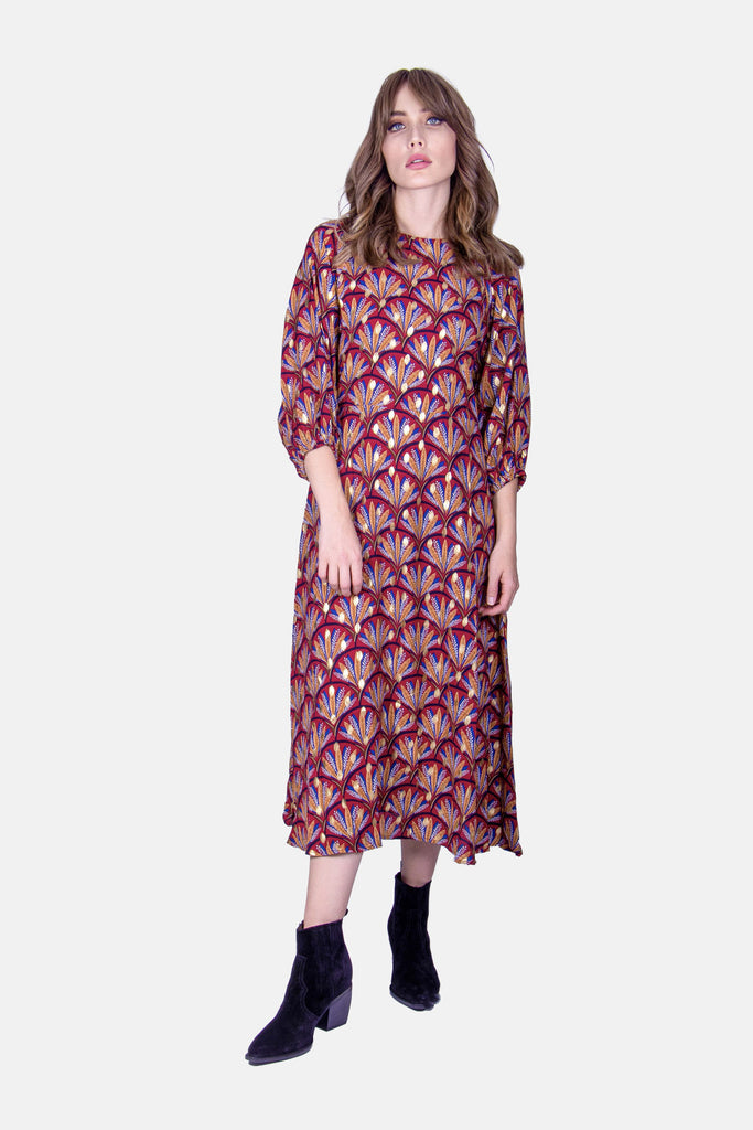 Traffic People Printed Midi Drape Dress in Wine Front View Image