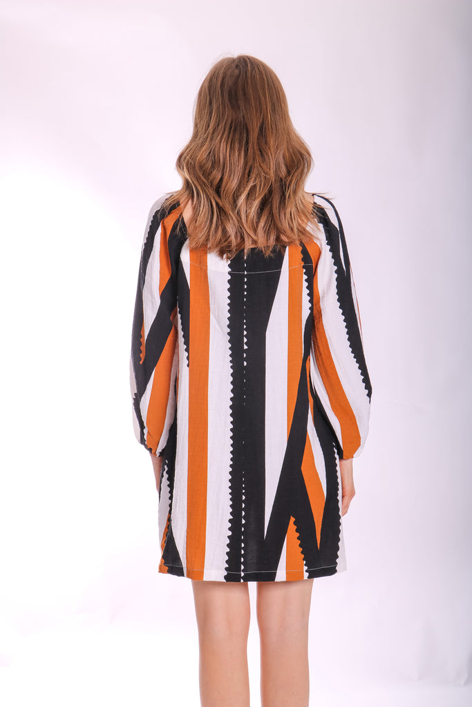 Traffic People Capri Mini Printed Dress in Black and Brown Side View Image