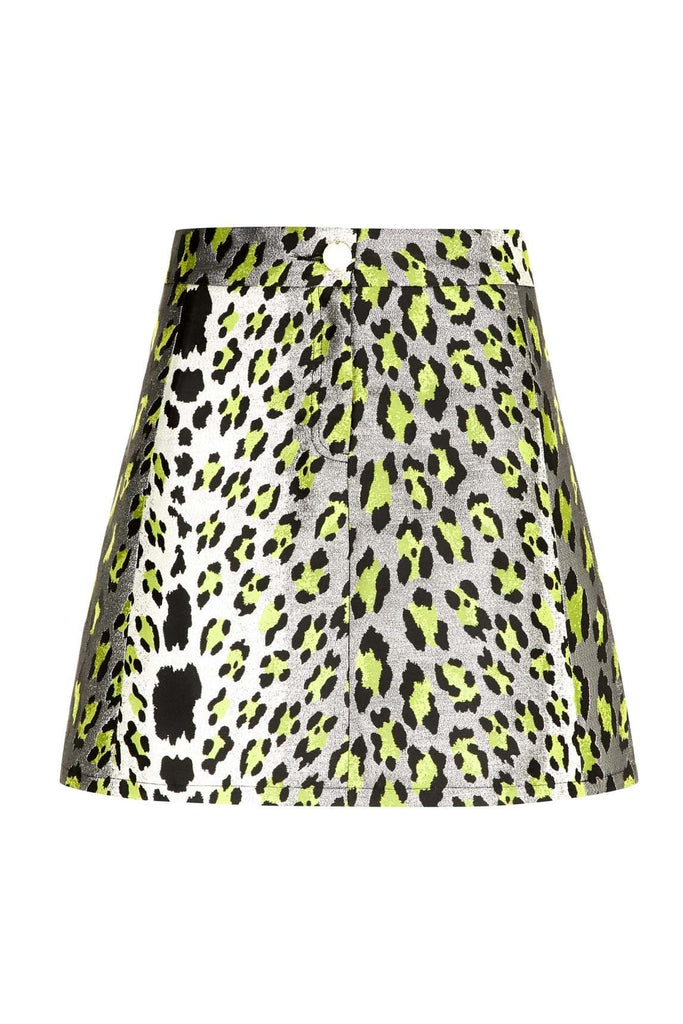 Traffic People Mini Metallic Animal Print Mcgraw Skirt in Silver and Yellow FlatShot Image