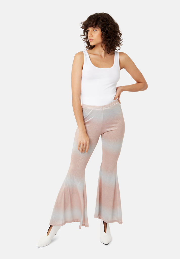 Traffic People Flaunt and Flare Metallic Fitted Trouser in Pink and Silver Side View Image