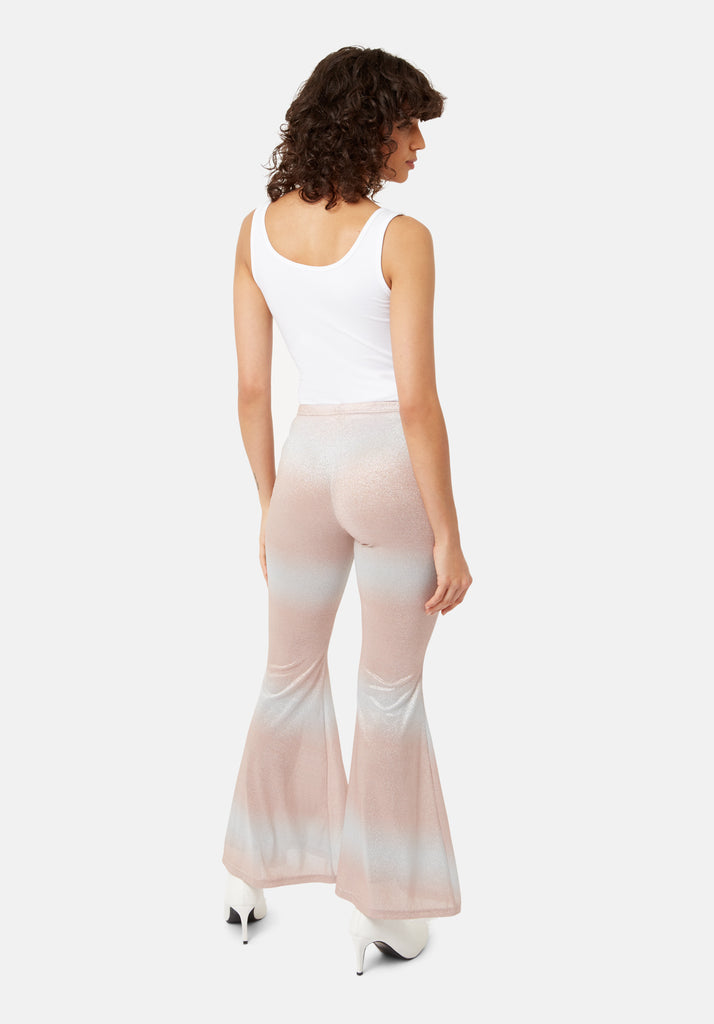 Traffic People Flaunt and Flare Metallic Fitted Trouser in Pink and Silver Back View Image