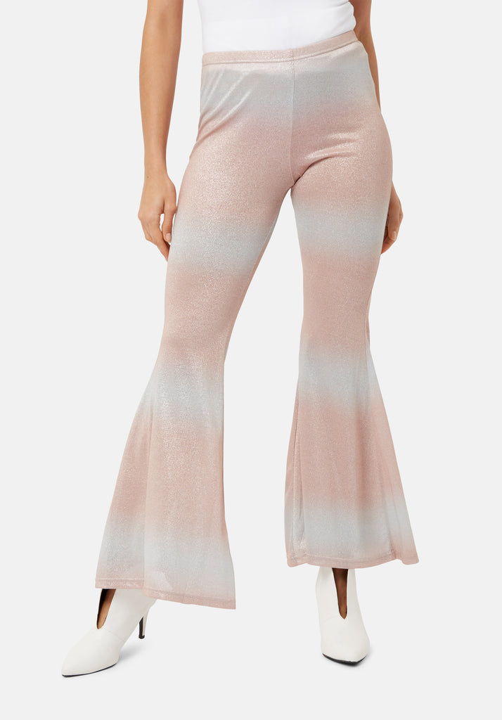 Traffic People Flaunt and Flare Metallic Fitted Trouser in Pink and Silver Close Up Image