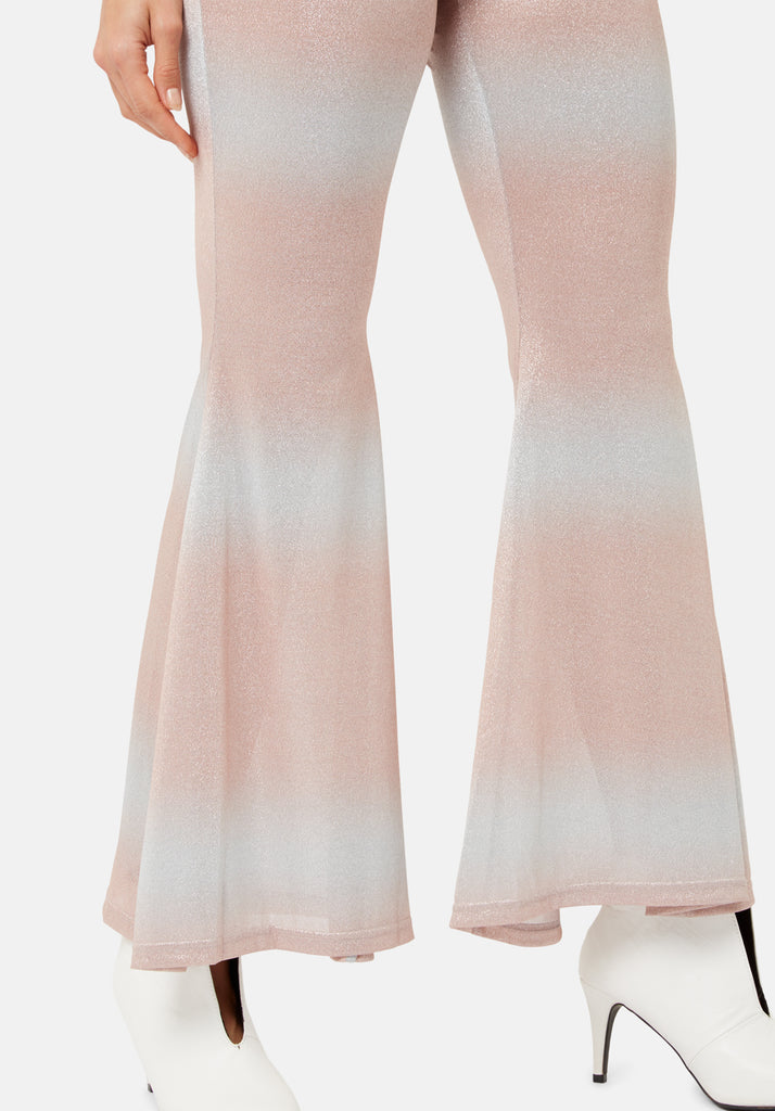 Traffic People Flaunt and Flare Metallic Fitted Trouser in Pink and Silver FlatShot Image