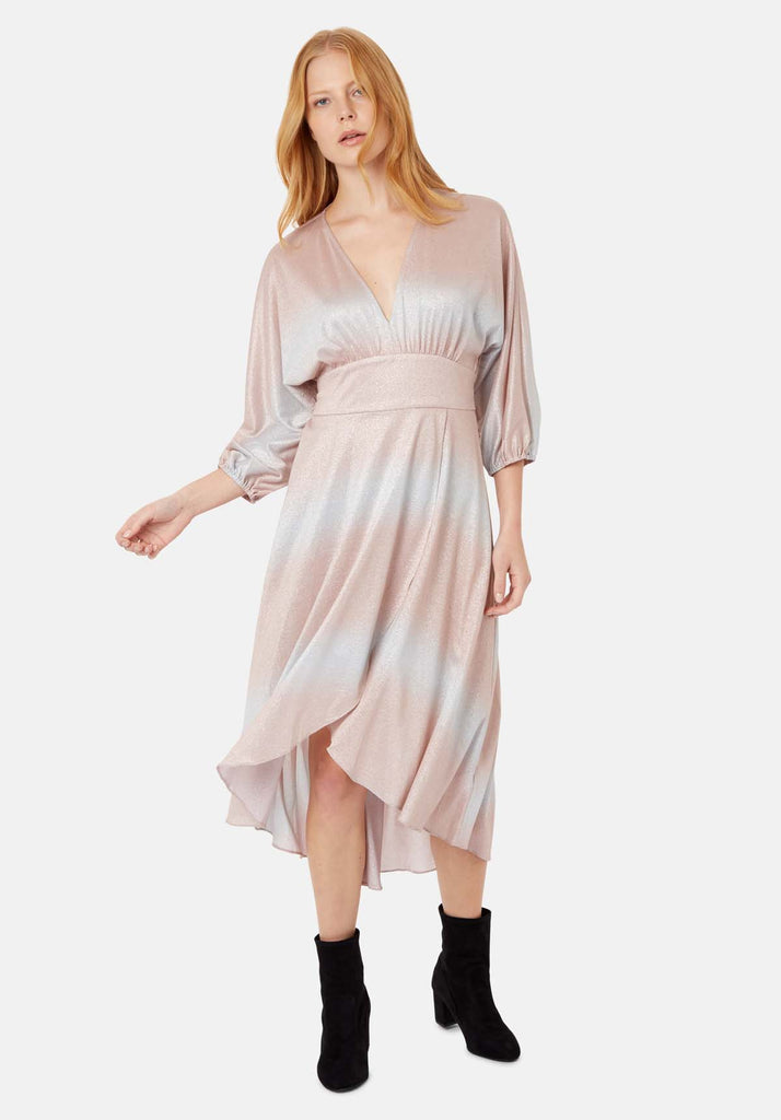 Traffic People Muse And Bemuse asymmetric Midi Dress in Pink and Silver Front View Image