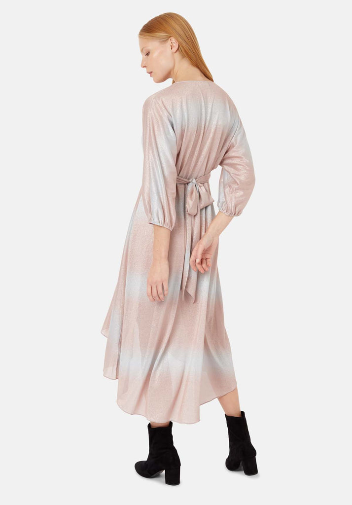 Traffic People Muse And Bemuse asymmetric Midi Dress in Pink and Silver Side View Image