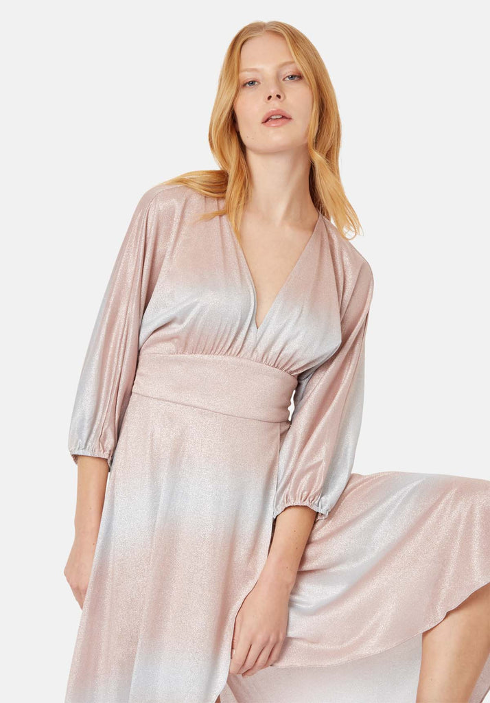 Traffic People Muse And Bemuse asymmetric Midi Dress in Pink and Silver Back View Image