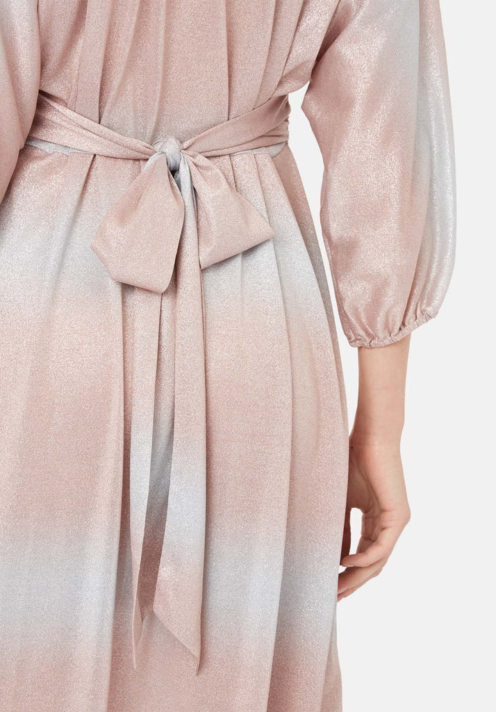 Traffic People Muse And Bemuse asymmetric Midi Dress in Pink and Silver Close Up Image