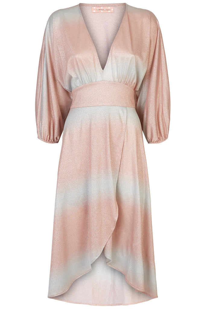 Traffic People Muse And Bemuse asymmetric Midi Dress in Pink and Silver FlatShot Image