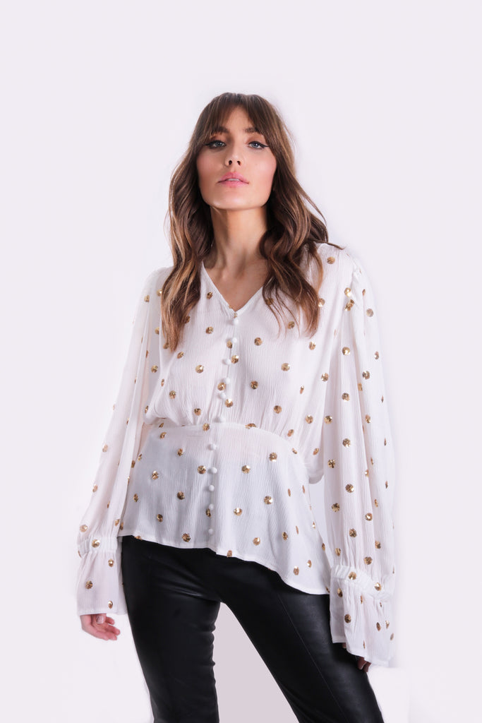 Traffic People Breathless Trance Billow Top in White Side View Image