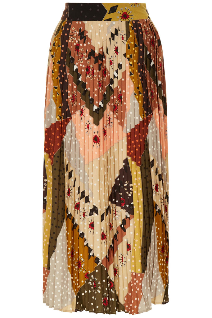 Traffic People Pleated Falls Printed Midi Dress in Multicoloured FlatShot Image