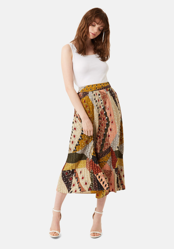 Pleated Falls Printed Midi Skirt in Multicoloured