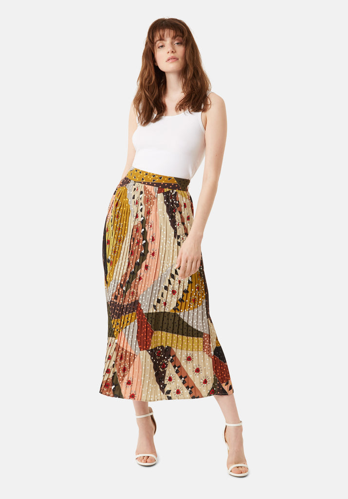 Traffic People Pleated Falls Printed Midi Dress in Multicoloured Front View Image