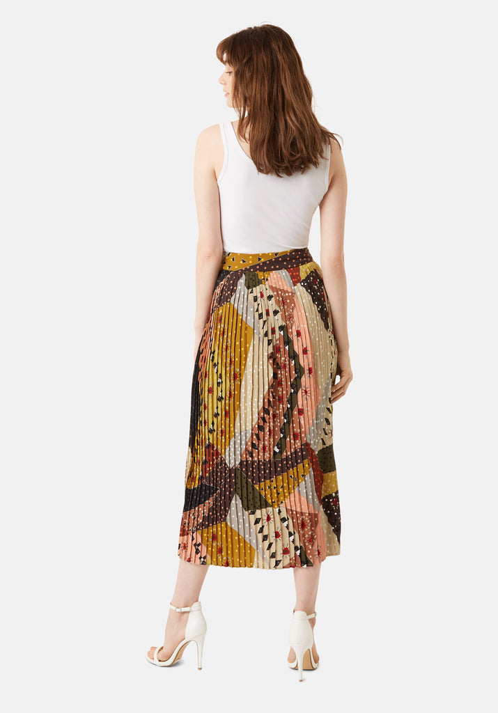 Traffic People Pleated Falls Printed Midi Dress in Multicoloured Side View Image