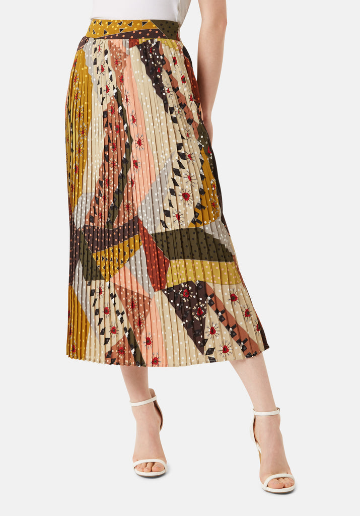 Traffic People Pleated Falls Printed Midi Dress in Multicoloured Back View Image