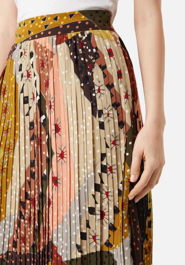 Traffic People Pleated Falls Printed Midi Dress in Multicoloured Close Up Image