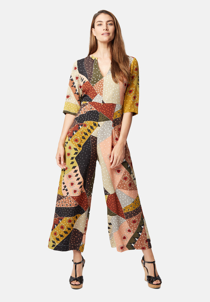 Traffic People Printed Betty V-Neck jumpsuit in Multicolour Front View Image
