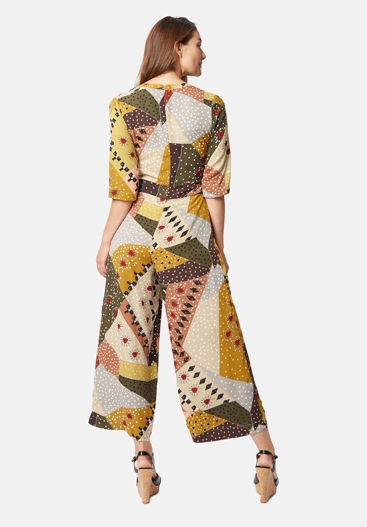 Traffic People Printed Betty V-Neck jumpsuit in Multicolour Side View Image