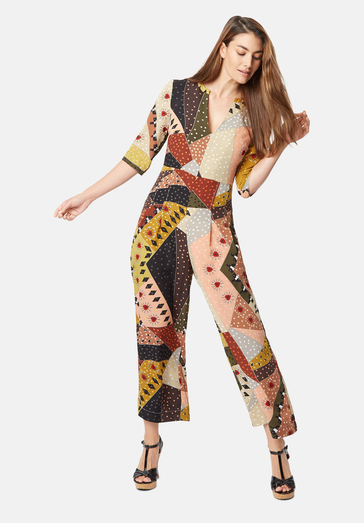 Traffic People Printed Betty V-Neck jumpsuit in Multicolour Close Up Image