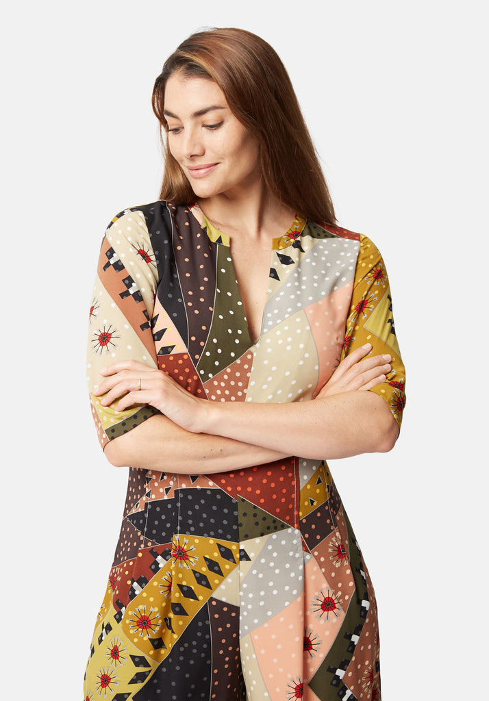 Traffic People Printed Betty V-Neck jumpsuit in Multicolour Back View Image