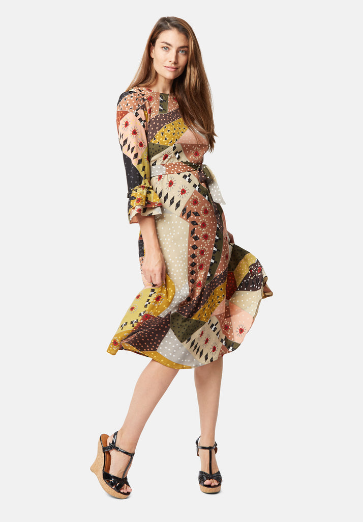 Traffic People Frill Printed Midi Dress in Multicolour Front View Image