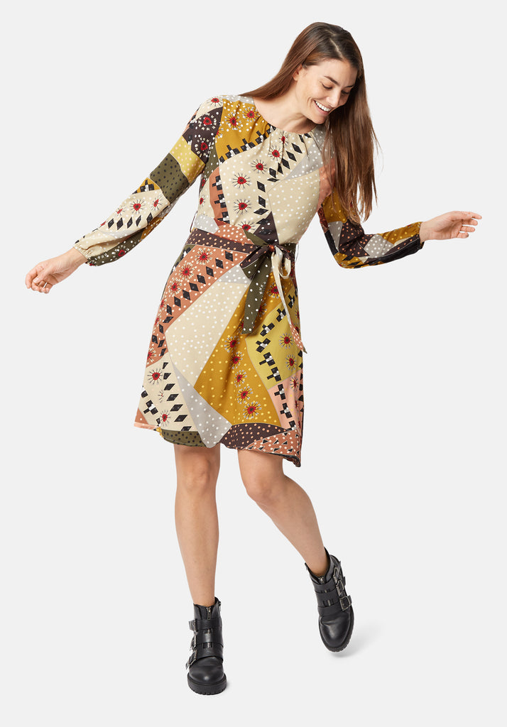 Traffic People Long Sleeve Mini Cusp Dress in Patchwork Print Close Up Image