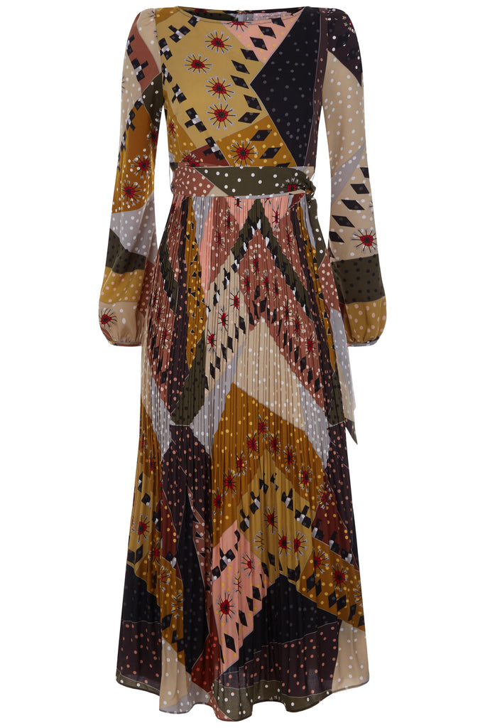 Traffic People Pleated Maxi Long Sleeve Fathom Dress in Patchwork Print FlatShot Image