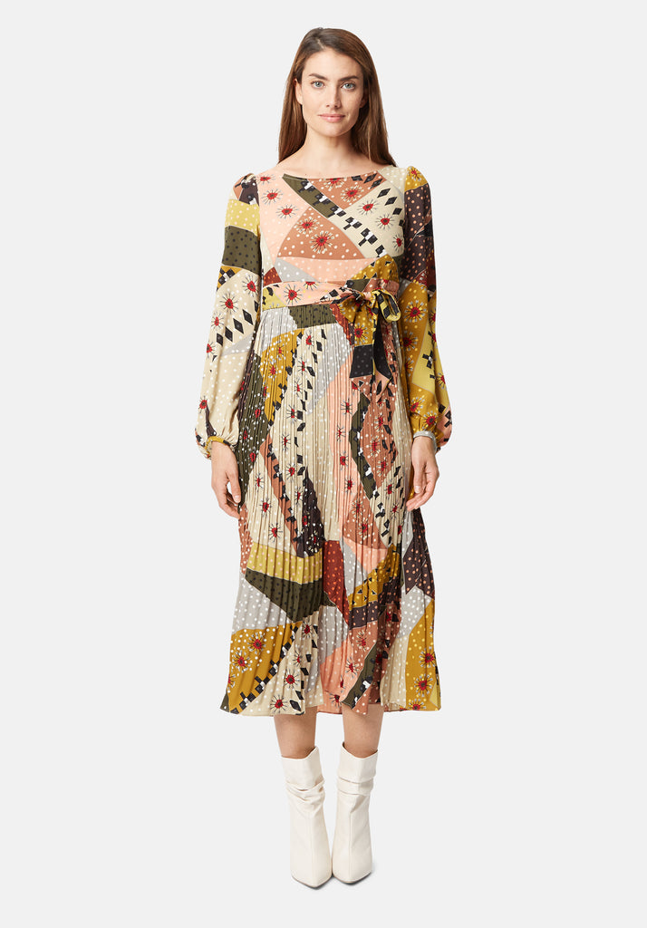 Traffic People Pleated Maxi Long Sleeve Fathom Dress in Patchwork Print Back View Image