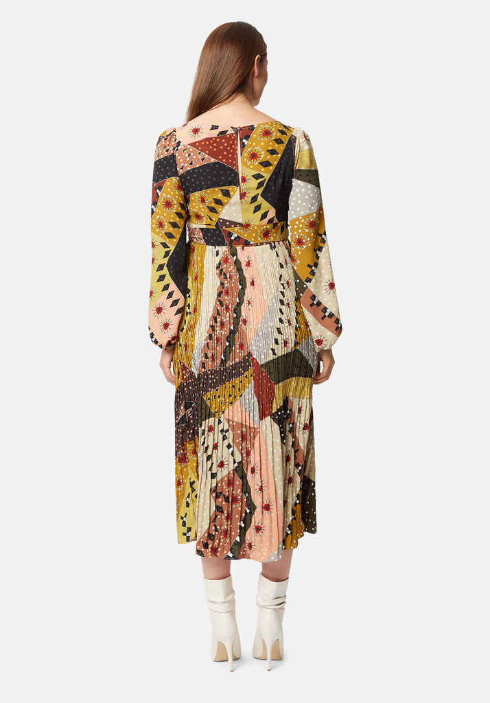Traffic People Pleated Maxi Long Sleeve Fathom Dress in Patchwork Print Side View Image