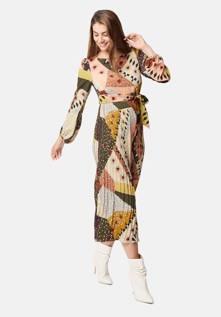 Traffic People Pleated Maxi Long Sleeve Fathom Dress in Patchwork Print Front View Image