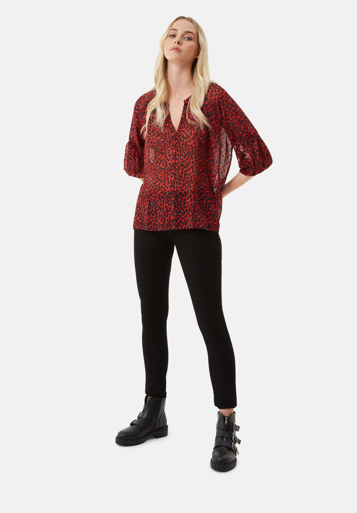 Traffic People Folklore Animal Print Shirt in Red Side View Image