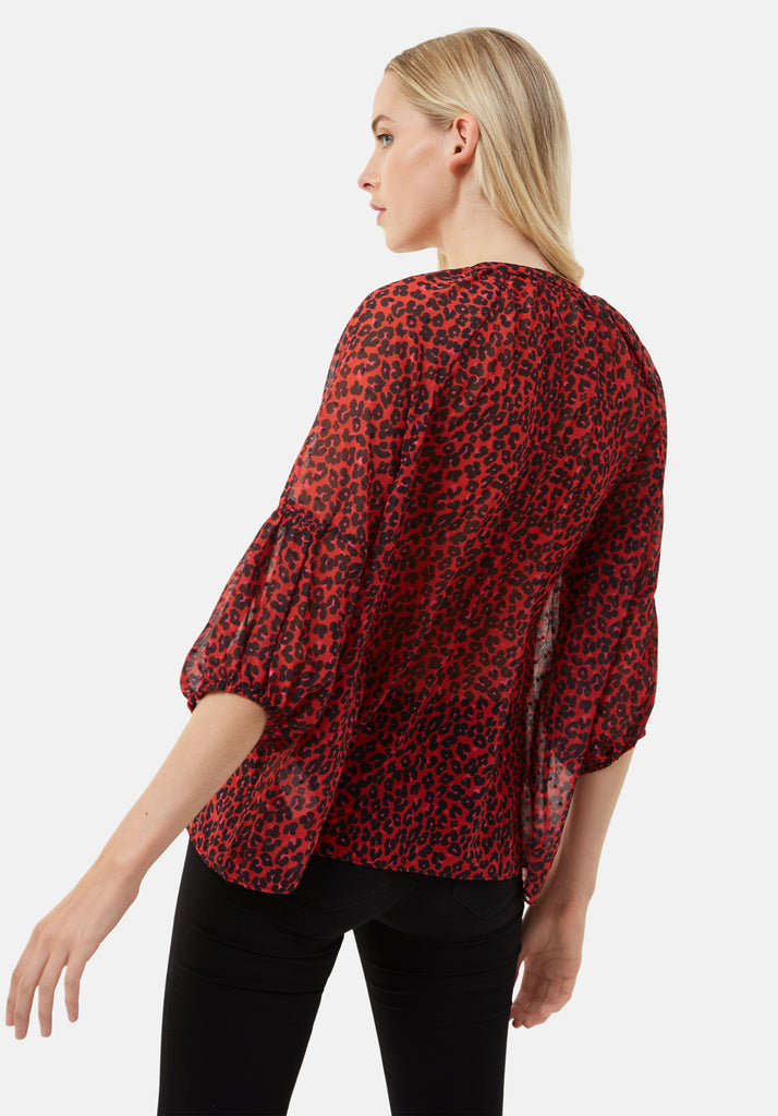 Traffic People Folklore Animal Print Shirt in Red Back View Image