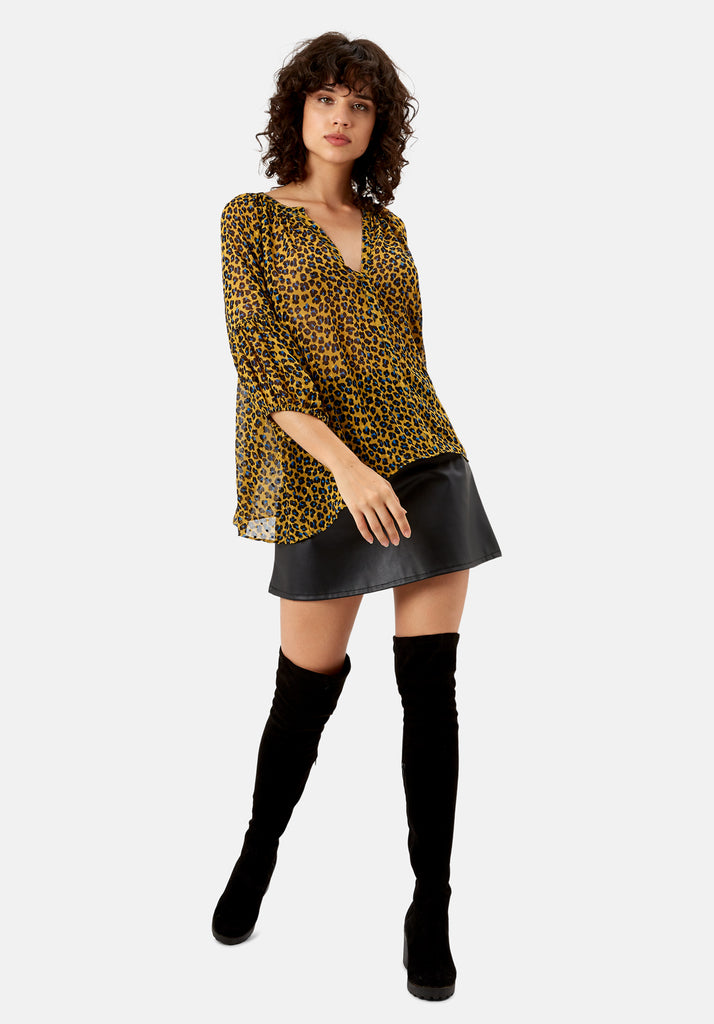 Traffic People Folklore Animal Print Top in Mustard Side View Image