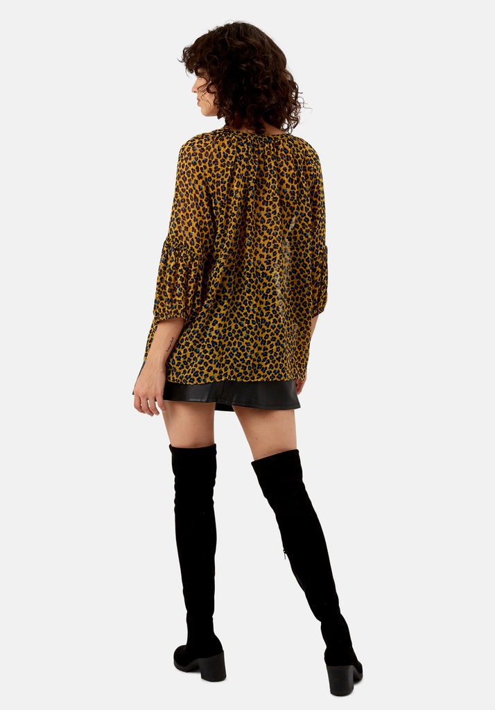Traffic People Folklore Animal Print Top in Mustard Back View Image