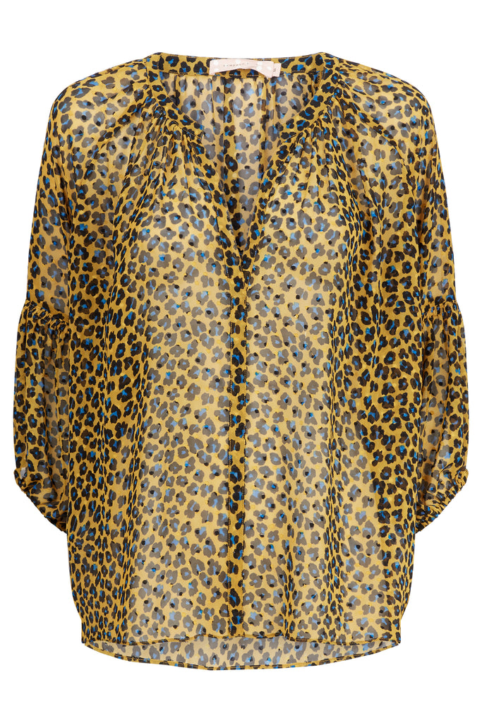 Traffic People Folklore Animal Print Top in Mustard FlatShot Image