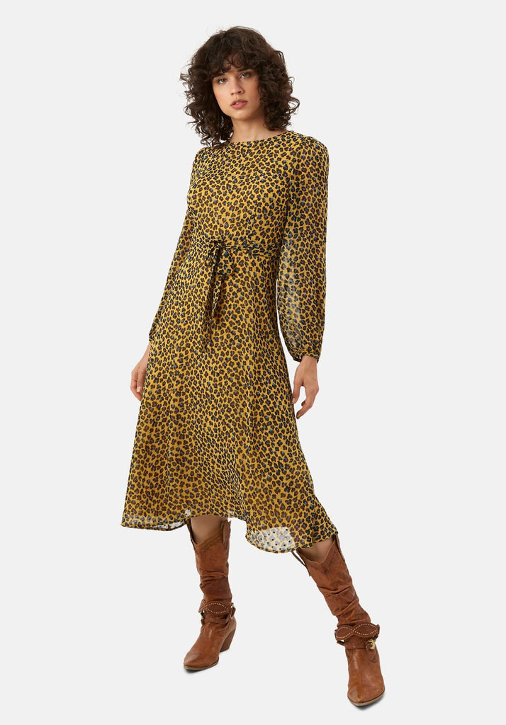 Traffic People Mood Midi Long Sleeve Animal Dress in Mustard Front View Image