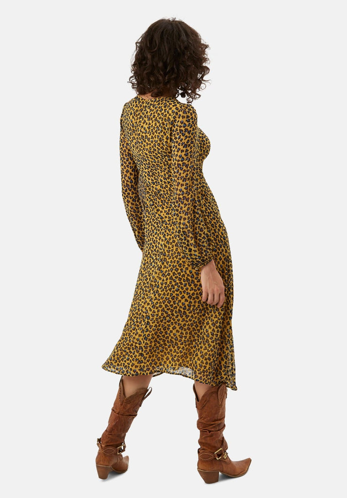 Traffic People Mood Midi Long Sleeve Animal Dress in Mustard Back View Image
