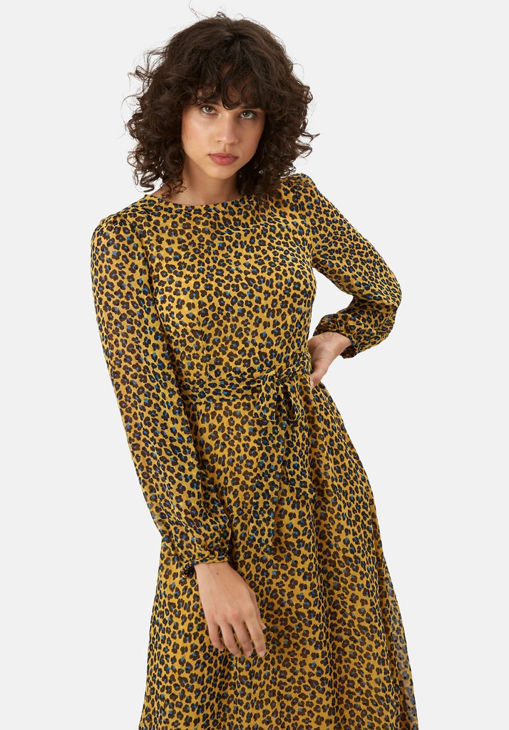 Traffic People Mood Midi Long Sleeve Animal Dress in Mustard Side View Image