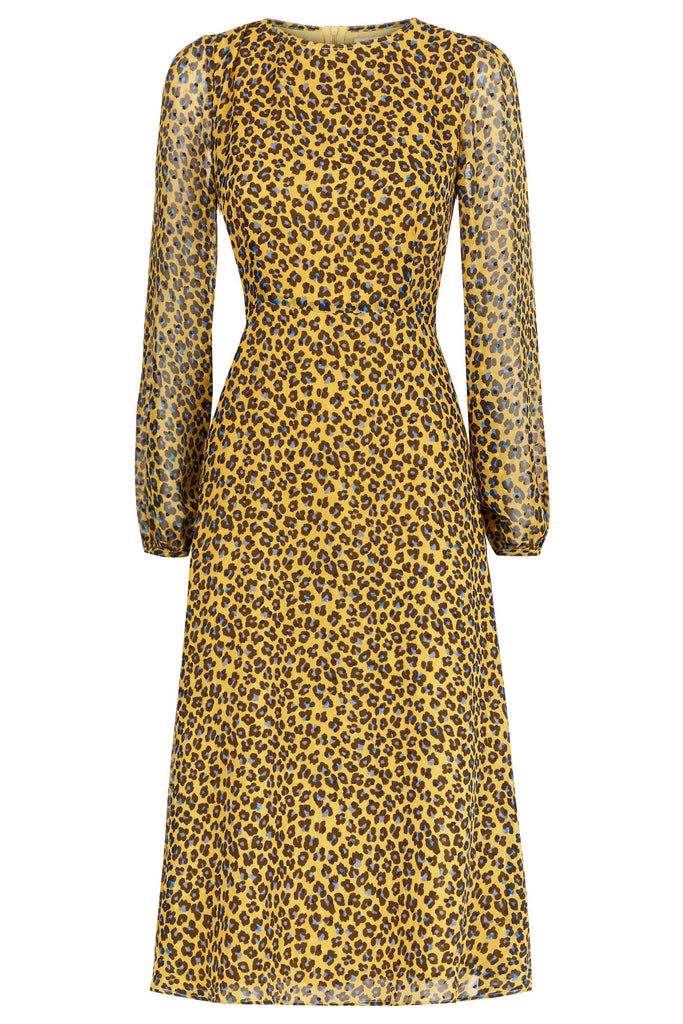 Traffic People Mood Midi Long Sleeve Animal Dress in Mustard FlatShot Image