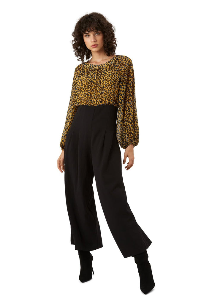Traffic People Haughty Animal Print Long Sleeve Jumpsuit in Mustard Front View Image