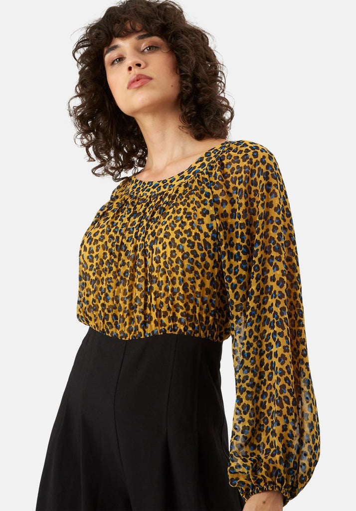 Traffic People Haughty Animal Print Long Sleeve Jumpsuit in Mustard Close Up Image