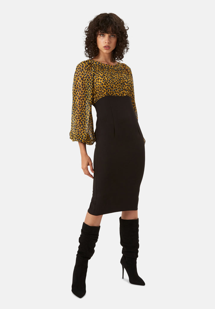Traffic People Wiggle and Wave Animal Print Pencil Midi Dress in Mustard Front View Image